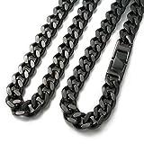 ブラックネックレス チタンチェーン黒 喜平50cm 9.3mm巾 チェーン ネックレス(DLC硬化加工)TITAN ネックレス  50cm