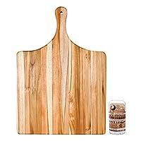 Proteak エッジグレインチーク材 20 x 14インチ グルメカッティングボード 調味料スティック付き