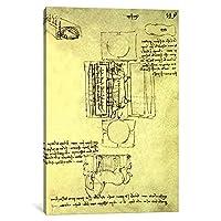 "iCanvasART 1Pieceスケッチの鋳造ピットのSforza Horse Seen from Above and the Side、Fol。149rからThe Codex Madrid I、c.1493キャンバスプリントby Leonardo da Vinci , 18"" x 12"" / 0.75"" Deep"