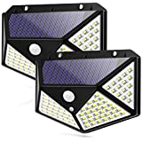 Motion Sensor Solar Lights, Waterproof Outdoor Wall Night Light, 100 LEDs 270° Wide Angle Security for Pathway Porch Yard Garage Garden Fence Walkway Driveway, 2 Pack
