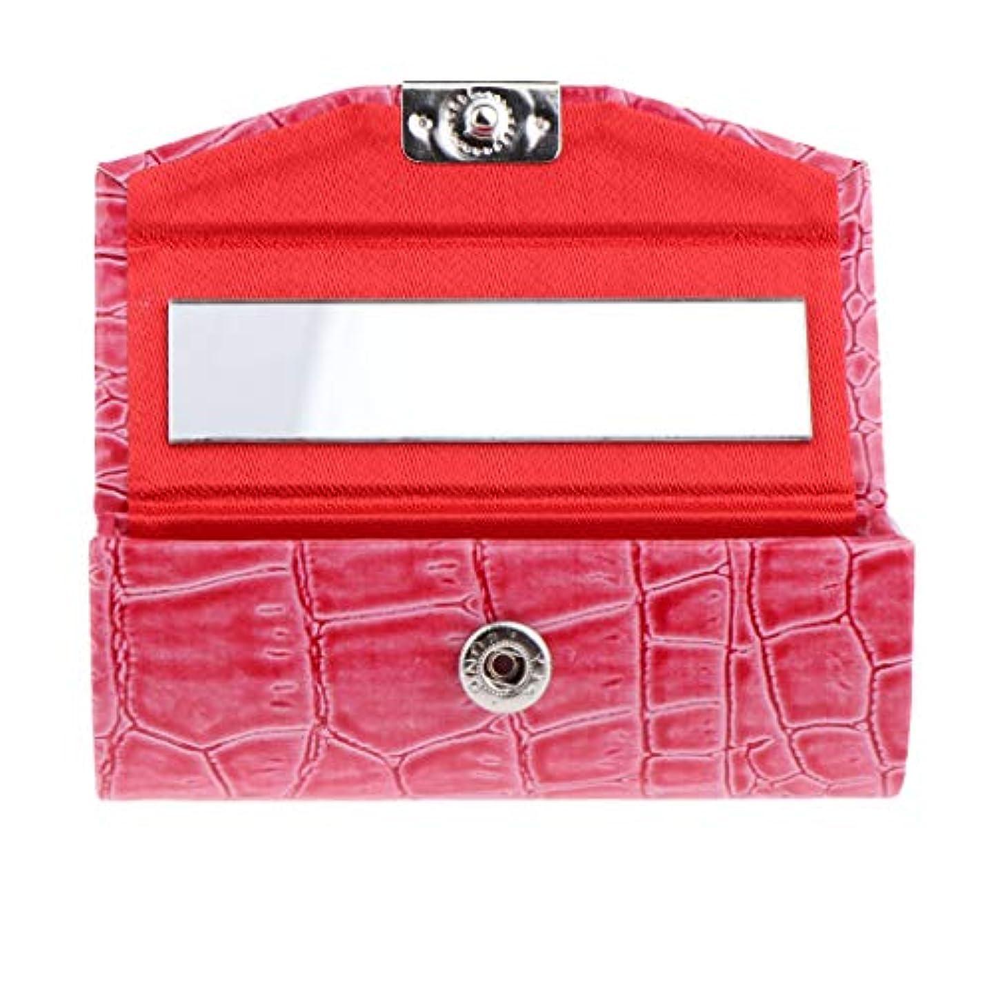 商品レイアドル全10色 化粧ポーチ 口紅ホルダー リネンカバー リップスティック リップグロス 収納ケース - ローズレッド