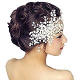 DRASAWEE(JP)花嫁 ヘアアクセサリー 手作り クリスタル ビーズ ヘアの櫛 パール 髪飾り 結婚式 ホワイト