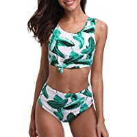 Tempt Me Women 2 Piece Lace High Neck Bow Knot Bikini High Waisted Swimsuit