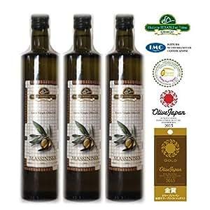 自然栽培100%ナチュラル オリーブジャパン2年連続金賞受賞 エキストラバージンオリーブオイル MASSINISSA 250ML X 3本