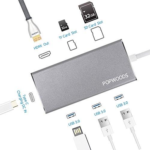 USB C ハブアダプタ7イン1マルチポートタイプ C ハブ 充電ポート/HDMI2.0 4K/UHD/TFカードスロット/SDカードスロット/MacBook USB 3.0高速Hub 軽量