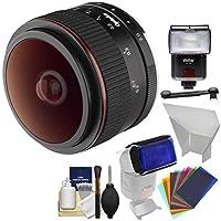 Opteka 6.5MM F / 2HD MF Prime魚眼レンズレンズとフラッシュ+ディフューザー+リフレクター+カラーGelsキットSonyアルファ・Eマウントデジタルカメラ