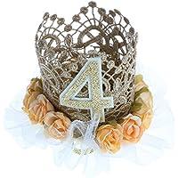 Perfk プリンセス ベビーキッド 4th クラウン ヘッドバンド 誕生日 ヘアバンド ケーキ スマッシュ 写真 プロップ 小道具