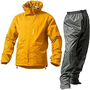 マックレインウェア(MAKKU RAIN WEAR)  DUAL ONE (デュアルワン) 耐久防水レインスーツ ウエア:マットイエロー/パンツ:グレー S AS-8000