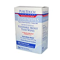 Puretouch Individual Flushable Moist Tush Wipes, 24 Count by Pure Touch Skin care