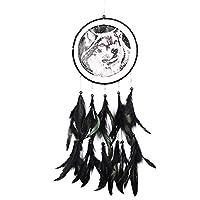 手作りのドリームキャッチャー油絵オオカミドリームビーズぶら下げ車の装飾家庭用装飾クラフトE5M1-as pic show