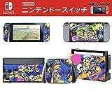 【E-game】 高品質 Nintendo Switch スキンシール 保護カバー (本体 ドック Joy-Con グリップ 4点セット) 液晶保護フィルム & オリジナルクロス付き 「スプラトゥーンA」