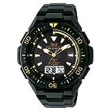 [シチズン キューアンドキュー]CITIZEN Q&Q 電波ソーラー腕時計 SOLARMATE (ソーラーメイト) アナログ表示 クロノグラフ機能付き 10気圧防水 ウレタンバンド ゴールド×ブラック MD06-312 メンズ