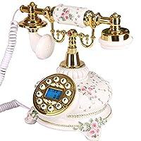 古典的なヨーロッパのレトロな固定電話 アンティーク装飾電話、携帯電話の固定電話ホームクリエイティブオフィス固定ヨーロッパのアンティークレトロ樹脂電話 (色 : ゴールド, 三 : C)