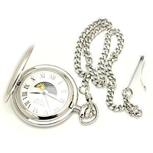 [モントレスコレクション]Montres Collection 懐中時計 サン アンド ムーン ポケットウォッチ シルバー ローマ数字 MC-900W/R
