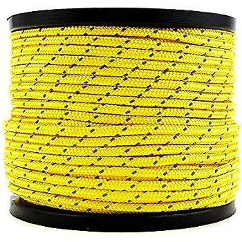 Soomloom テント用ロープ 反射材付き 全長50m ロープ直径4㎜ (イエロー)