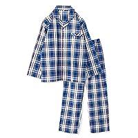 【ノーブランド品】 綿100% 長袖 メンズ パジャマ 春 夏 向け チェック柄 ブルー Mサイズ