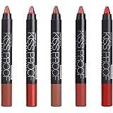 Kesoto 5本セット マット リップスティック 鉛筆削り付き 保湿 ベルベット リップ スティック グロス クレヨン ペンシル 4タイプ選べ - #B