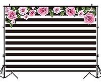 mehofoto 7x 5ftビニールブラックとホワイトストライプ写真バックドロップBlossomフローラル写真の背景幕ウェディング誕生日パーティー装飾背景