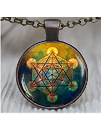 Metatron's キューブペンダント 神聖な幾何学ジュエリー メタトロンキューブ 幾何学ネックレス ジュエリー メンズ