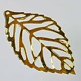 【クラフトパーツのチェロ S3.1 】 大きめ葉っぱ スカシパーツ 10個セット 長さ 34.5mmゴールド カラー