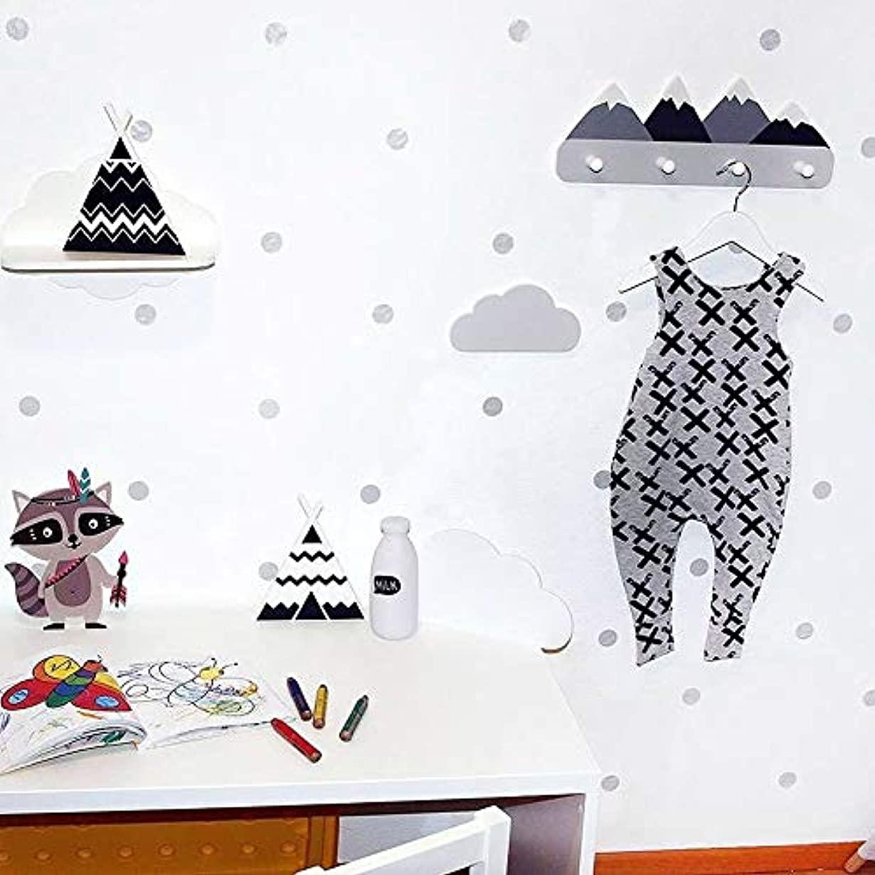 パンチ服昼食北欧スタイル木製マウンテン子供コートラック幾何学的マウンテンアート棚用服4フックの1ピースキッズルームの装飾アイデアギフト (スノーマウンテン)