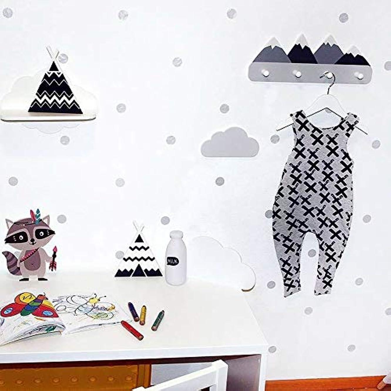 北欧スタイル木製マウンテン子供コートラック幾何学的マウンテンアート棚用服4フックの1ピースキッズルームの装飾アイデアギフト (スノーマウンテン)