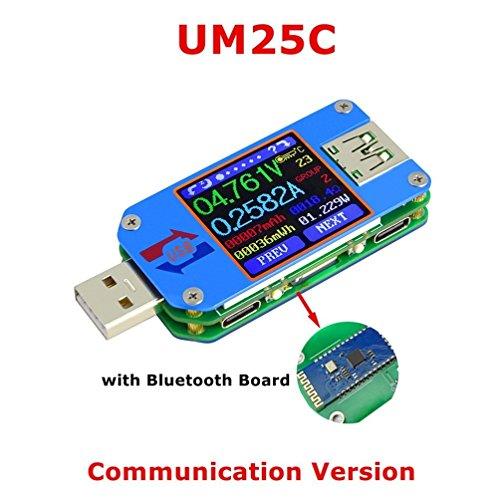 UM24C/UM25C/UM25 USB電圧電流テスター USB 2.0 カラーLCDディスプレイテスター 電圧計 電流計 マルチマーター バッテリー 充電器 ケーブル インピーダンス測定 容量テスター