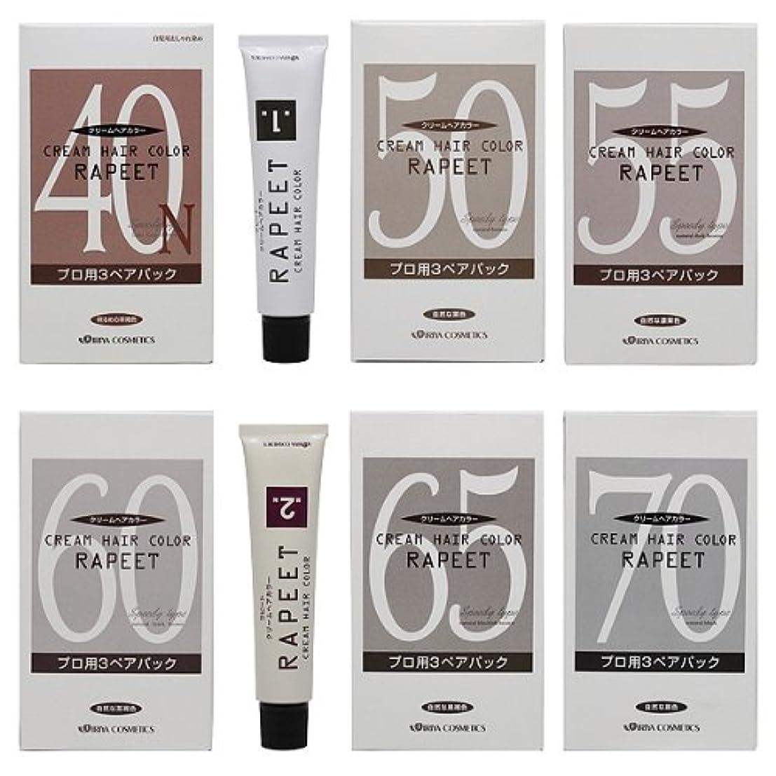 イリヤ化学 ラピート クリームヘアカラー プロ用3ペアパック 1?2剤各60g×各3本入 65 自然な黒褐色