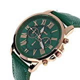 ZooooM クロノグラフ ラウンド デザイン アナログ 腕 時計 フェイク レザー ベルト ファッション アクセサリー フォーマル カジュアル ビジネス メンズ レディース 男性 女性 男 女 兼 用 オリジナル クロス 付 ( ダーク グリーン ) ZM-CLWC-DGR