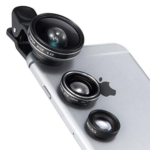 TaoTronics カメラレンズキット クリップ式 スマホレンズ 3点セット(魚眼、マクロ、0.4倍広角レンズ) スマートフォン タブレット インスタ映え TT-SH014
