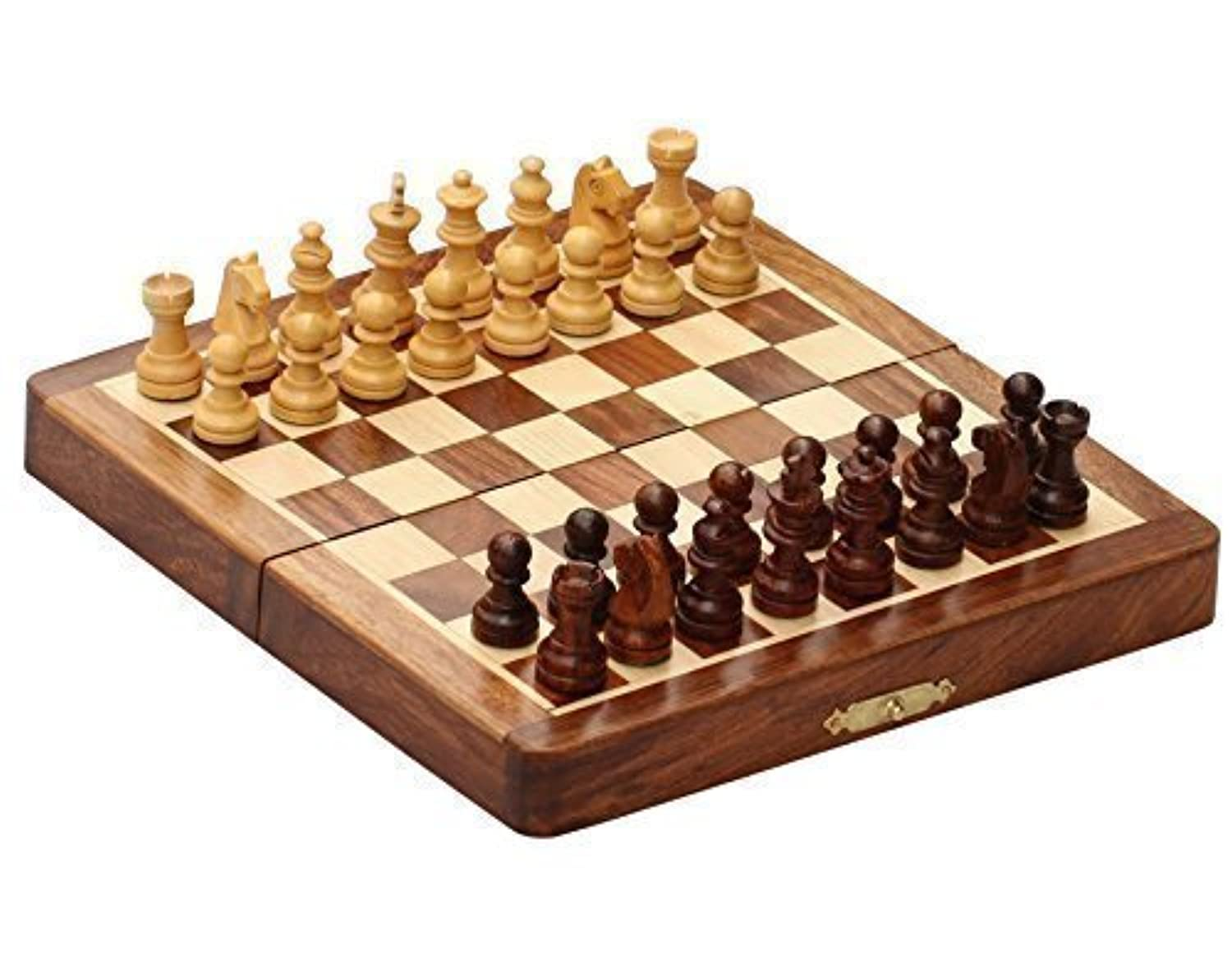 KIMARO Classic Wood 8 X 8 Inch Pocket Chess Set Chess Pieces and Folding Game Board