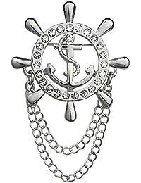 【ノーブランド品】ブローチ ラペルピン ラインストーン チェーンタッセル付 船舵型 (シルバー)