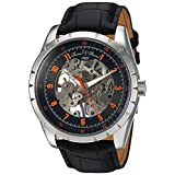 Lucien Piccard Men 's ' Hampton ' Mechanical Hand WindステンレススチールandレザーCasual Watch , Color : Black ( Model : lp-40028 m-01-oa )