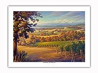 日暮れのヴィンヤードの風景 - ワインカントリーアート によって作成された カーン・エリクソン -プレミアム290gsmジークレーアートプリント - 46cm x 61cm