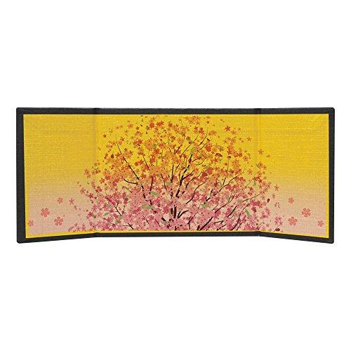 かわいい おひなさま 手作り ガラス細工用 3曲 屏風 満開桜