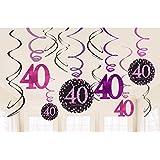 (アムスキャン) Amscan 40歳 誕生日パーティー スワール ハンギングデコレーション 天井飾り (12個セット) (ワンサイズ) (ブラック/ピンク)