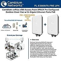 Cambium E500 プレコンフィグメント FCC アウトドア 2x2 ギガビット 802.11ac AP PoE付き (2ユニット)