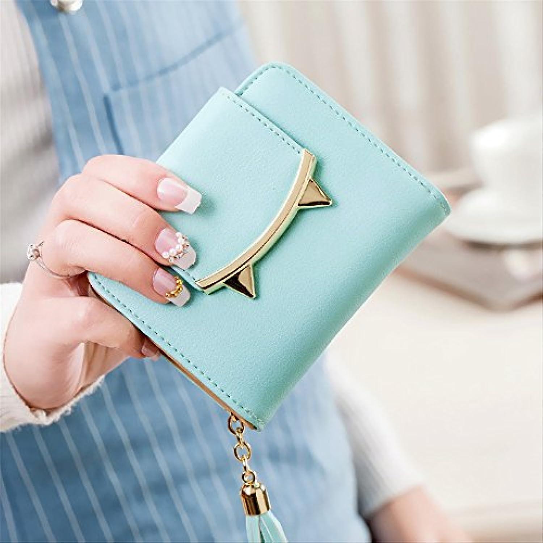 かわいい小さな虎の歯のタッセルのジッパーの短い財布 (緑)