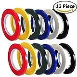 HULISEN フリーテープ 線引きテープ カラーテープ ホワイトボード用 手帳用 多機能 12個セット (幅3mm)