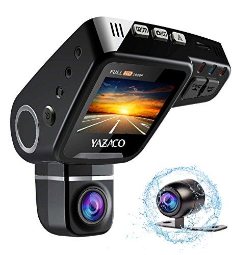 YAZACO 隠し ドライブレコーダー ドラレコ 1080P フルHD 2.0インチ 170°高画質広視野角 1200万画素 前後カメラ同時記録 回転レンズ CMOSセンサー搭載 WDR機能 駐車監視 動体検知 常時録画 コンデンサ内蔵 日本語説明書付属