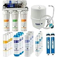 5ステージアンダーシンク逆浸透浄水システム 50 GPD RO 膜フィルター、ブーストポンプフィルター付きフィッシュタンク 家庭、水軟化器、NSF認定、2年保証