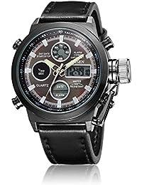 OHSEN腕時計クォーツアナログデジタルデュアルタイム本革バンドブラック