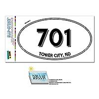 701 - タワーシティ, ND - ノースダコタ - 楕円形市外局番ステッカー