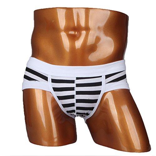 Hioffer(ハイオフア)男性用 パンツ ボクサー ブリーフ ローライズ トランク スキニー お洒落インナー ストライプ 男性下着 ブラック XL