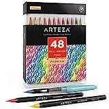 Artezaリアル筆ペン、水彩画用48色。初心者からアーティストまで、誰にでも使いやすいソフトなナイロン毛を使用した、塗り絵、書道、ドローイング用水筆ペイントマーカー