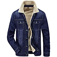 HOW'ON Men's Plus Cotton Warm Fur Collar Sherpa Lined Denim Jacket Button Down Classy Casual Quilted Jeans Coats Outwear