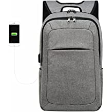 Kopack Business Laptop Backpack with USB Charging Port Anti-Theft Travel Bag Computer Backpack Bag Water Resistant 15.6 inch Grey
