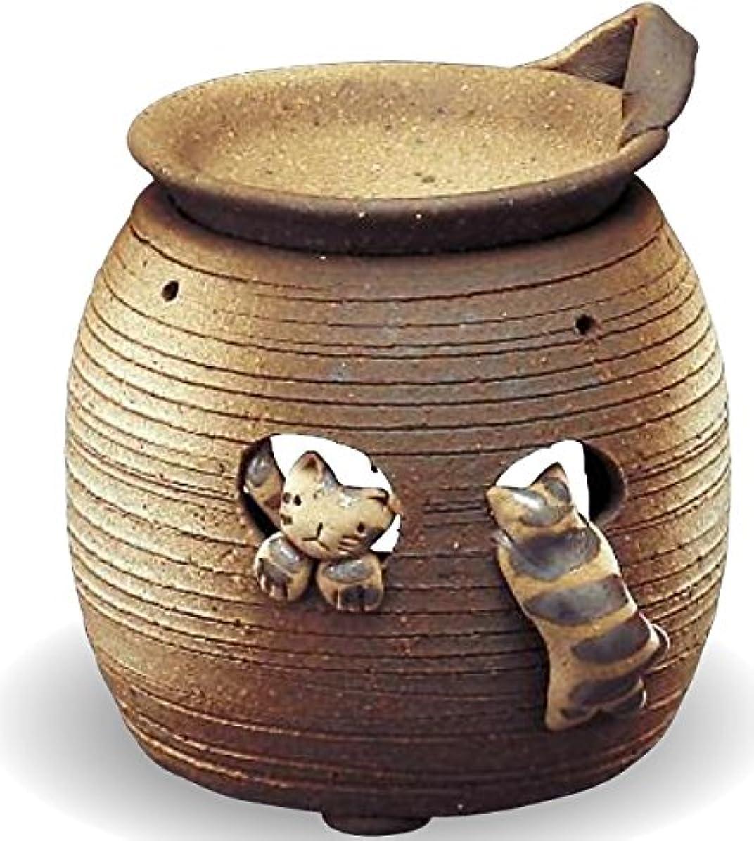 幻想パシフィック運動常滑焼 茶香炉(アロマポット)猫 径11×高さ12cm
