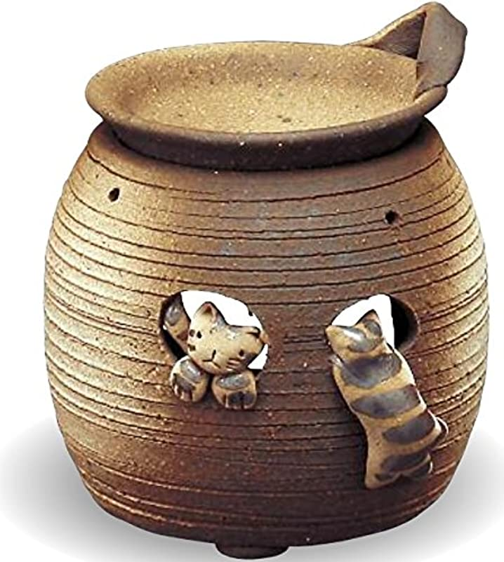 露鮮やかな花婿常滑焼 茶香炉(アロマポット)猫 径11×高さ12cm