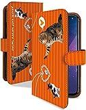 AQUOS sense2 SH-01L ケース 手帳型 二匹 ねこ オレンジ ねこ柄 ストライプ スマホケース アクオスセンス2 アクオスセンスツー 手帳 カバー AQUOSsense2 sh01l sh01lケース sh01lカバー 猫 ネコ キャット 猫柄 アクセ [二匹 ねこ オレンジ/t0722b]